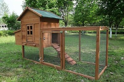 80'' Wooden Chicken Coop Rabbit Pet Hutch Hen House  Nest Box Pet Run Cage Large, used for sale  USA