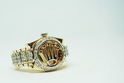 14K yellow Gold gorgeousRolex  Ring with 2ctw diamonds from Size 10 and up