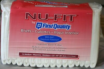 Adult Diaper Nu-Fit by First Quality Disposable Briefs Medium 16 Count 32