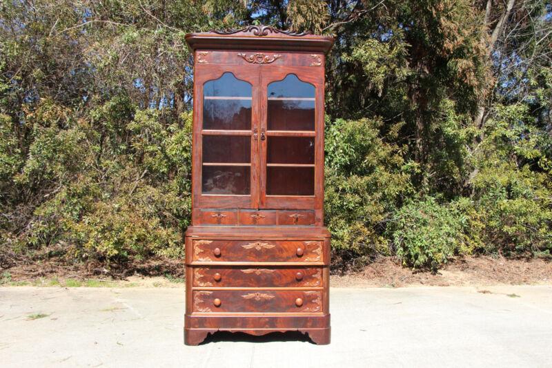Tall Fancy Victorian Empire Flame Mahogany Secretary Desk with Secret Drawer
