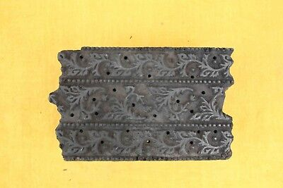 Vintage Wood Hand Carved Fabric Paper Printing Block Stamp Ethinic Floral Design