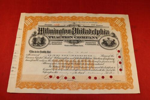 Vintage 1911 Wilmington Philadelphia Traction Company Stock Certificate