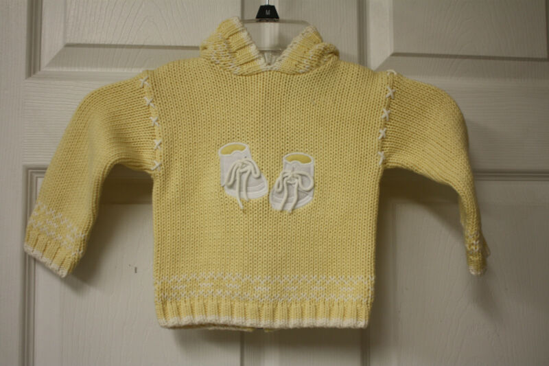 Baby Girls Hartstrings Baby Yellow Hooded Cotton Sweater Size 9 Months