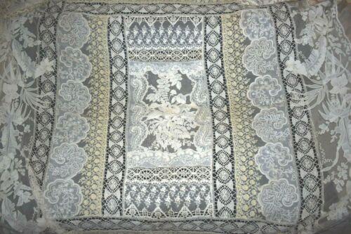 """Antique Handmade Net Lace Ecru Crochet Bedspread 65.5"""" x 88"""" & 13"""" Side Drops"""