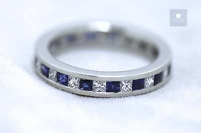 New Platinum 1.0ct Blue sapphire and 1.0ct Diamond Full-eternity Ring
