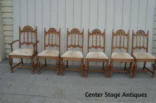 00001 Set 6 Antique Oak Dining Room Chairs