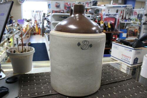 Antique 3 gallon Western Stoneware No. 3  Crock Jug ~ Moonshine ~ Whiskey