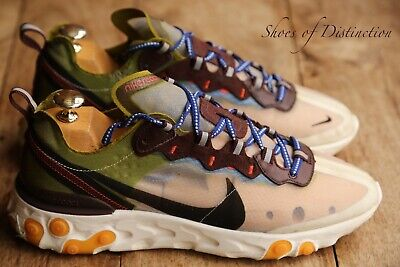 Nike React Element 87 White Moss Green Black Trainers Sneakers UK 8...