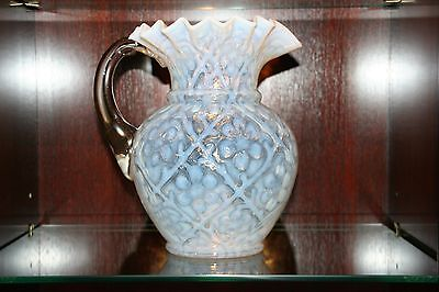 Rare Victorian Beaumont Glass Co. White Opalescent Daisy in Criss Cross Pitcher