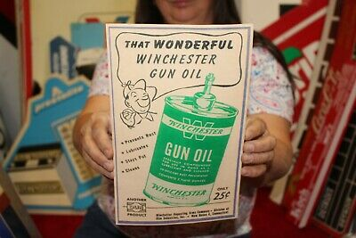 Rare Vintage 1950's Winchester Gun Oil 25c Handy Oiler Can Hunting Sign