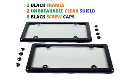 2 UNBREAKABLE CLEAR LICENSE PLATE TAG SHIELD COVERS  2 BLACK FRAMES  8 CAPS