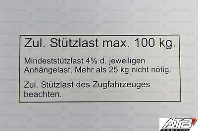 Stützlast Aufkleber Schild 100kg für PKW Anhänger