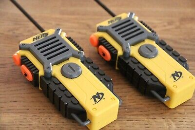 Hasbro Nerf WALKIE TALKIES 2-Way Radios SOCIAL DISTANCING Orange Gold Grey Pair