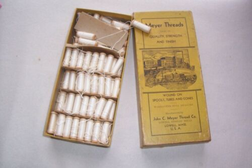 "John Meyer Davis Sewing Machine Ready Wound Wooden Bobbins  in Box ""Collectible"""