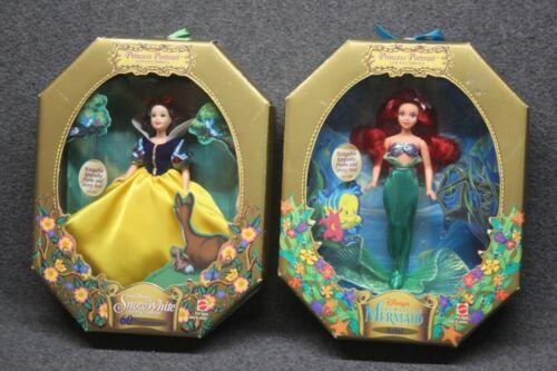 Disney Princess Portrait Collectables Lot - Ariel Little Mermaid + Snow White