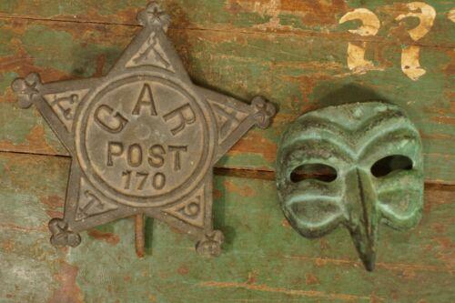 Antique Cast Iron Grave Marker Plague Doctor Mask