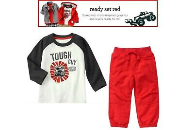 NWT Gymboree Ready Set Red 2pc Tough Guy Top & Lined Pants Size 2T