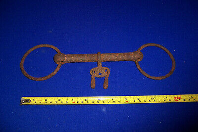 Antique working/Shire horse bit with keys breaking in bit display item lot 10