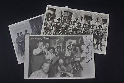 """3 Fotos Schweizer Garde """"Schwarze Hand"""" Grenzwache Lysbüchel 1917"""