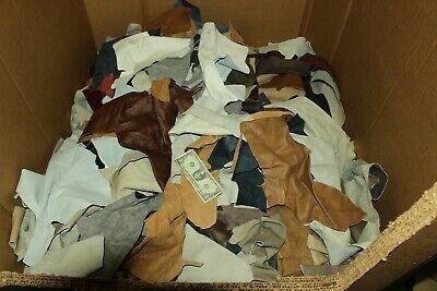 10 LB Box Mixed Colors Cowhide Remnants Scrap Leather Pieces,10 LB  FREE SHIP