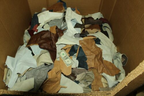 10 LB Box Mixed Colors Cowhide Remnants Scrap Leather Pieces,10 LB  FREE SHIP