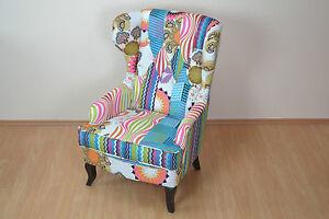 Ohrenbackensessel im Patchwork-Design Sessel Bunt Relaxsessel Fernsehsessel