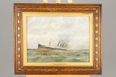 Untergang der HMHS Britannia. Gemälde von Obed Hodges