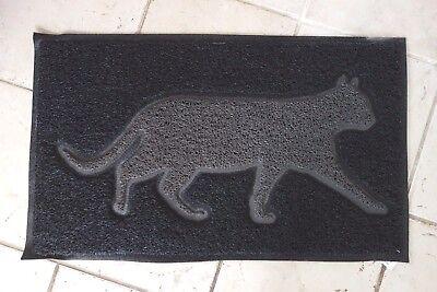 Retro Haus Garten Fußboden Matte Türmatte Katze Gummi 74x45cm Antik Stil Schwarz