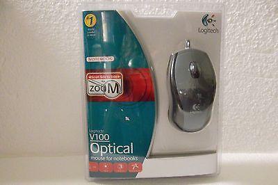 Logitech V100 Optical USB Mouse 2-Button Scroll-Wheel Tilt Zoom 931641-0403 NEW ()