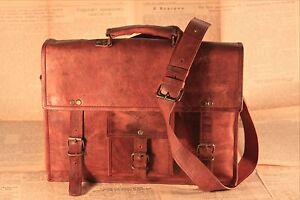 15'' Vintage Looking Leather Messenger Briefcase Shoulder Bag Mens Handmade