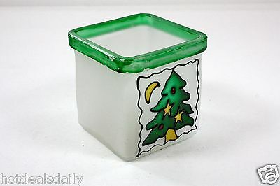 HEAVY FROSTED GLASS VOTIVE HOLDER SQUARE DESIGN GREEN RIM HAND PAINTED TREE