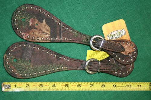 NEW Tough 1 Adult Leather Spur Straps w/ Tough Timber Leaf Print and Steel Dots