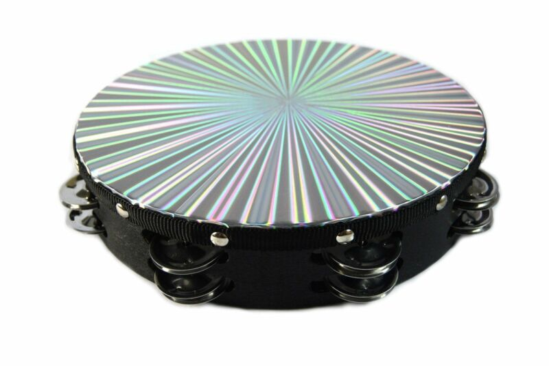 "New 10"" Reflective Double Row Jingle Percussion Tambourine for Church Band Music"