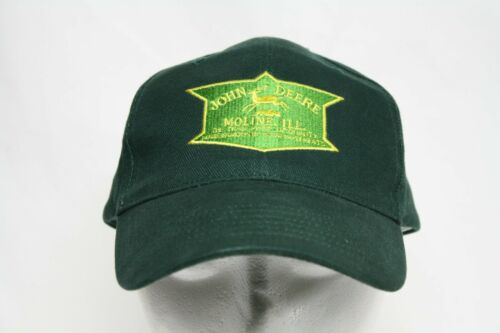 John Deere Moline IL Logo Dark Green Hat Yellow Embroider Adjustable Cap Gearbox