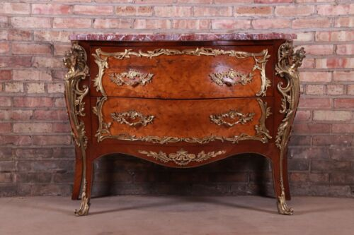 Antique French Louis XV Marble Top Bombay Chest Commode With Mounted Ormolu