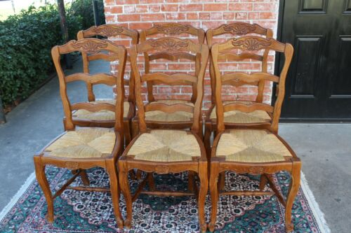 Set of 6 French Antique Louis XV Oak Rush Seat Chairs