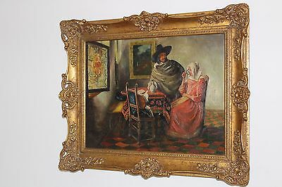 Altes Ölgemälde trinkende Frau TOP gemalt Gemälde 56x46 cm painting