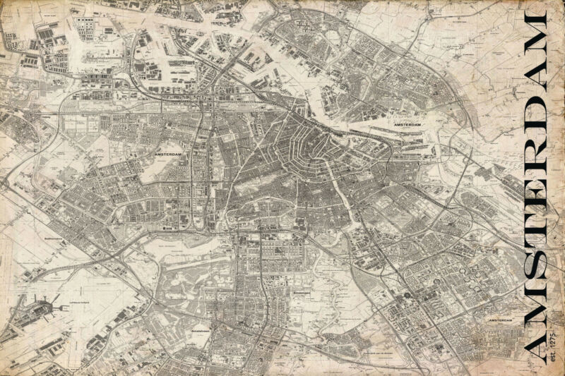"Vintage Map of  Amsterdam 20"" x 30:"