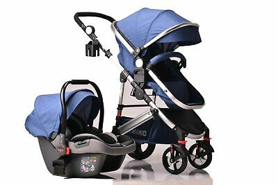 Kids Pram Travel System 3 in 1 Combi Stroller Buggy Baby Child Pushchair - Blue