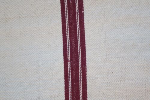 Antique European Hemp Grain Sack Beautiful Maroon Dark Red Crimson Stripes