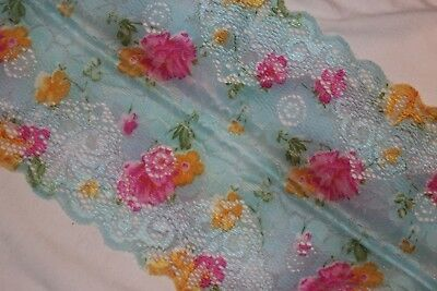 1 yard Blue Pink Floral lingerie stretch sewing craft trim lace 5.75