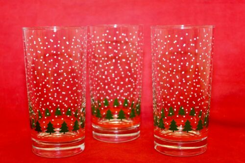 3 Libbey Christmas Tree Tumblers Drinking Glasses Red Band Snow