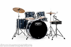 Mapex-Complete-Drum-Set-Rebel-Blue-5pc-Kit-18-Hardware-Cymbals-RB5844FTCYB