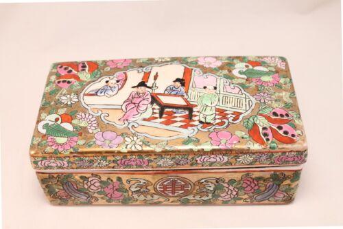 Vintage Chinese Famille Rose Porcelain Enamel Rectangular Box Jewelry Trinket