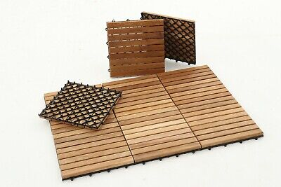 Natural Style Indoor/Outdoor/Decking/Pool/Spa Teak Tile 9 slats,10 pcs per box Teak Deck Tiles