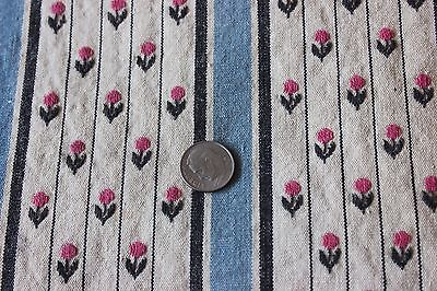 Antique County French Linen Floral & Blue Stripe Woven Textile Fabric c1890-1910