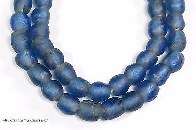 Small African Blue Recycled Glass Beads from Ghana Africa