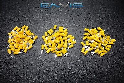 75 Pk 10-12 Gauge Vinyl Spade Connectors 25 Pcs Each 6 8 10 Terminal Fork