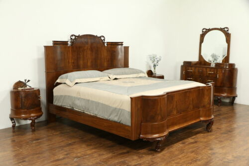 King Size Italian Art Deco Antique 4 Pc Olive Burl Bedroom Set, Bakelite  #32893