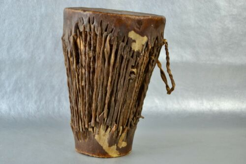 African Kenya Tribe Leather and Gut Handmade Musical Drum Double Sided Vintage